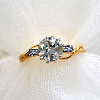 1 Carat certified Solitaire Diamond Engagement Ring, 14k Gold Bow with Accent Diamonds Ring (LR066)