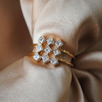 Square Geometric Grid Princess Cut Diamond Cluster Statement Ring in 14K Gold