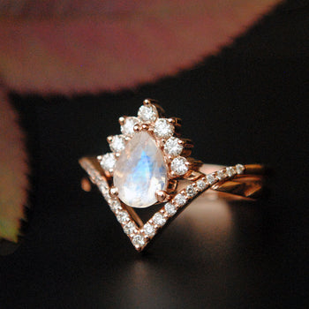 INTERLOCKING Pear Moonstone & Diamond Wedding Ring Set in 14K Gold,  Crossover Bridal Set (LR1029)