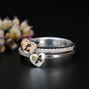 Custom Two Initial Ring with Diamond Band ( LR105)