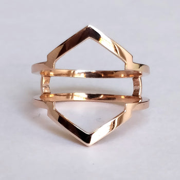 Solid Gold Heaxagon Ring Guard/Enhancer (LR1071)