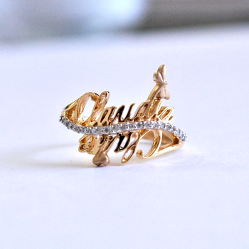 Two Name Personalized Rings in 14k Solid Gold with Diamonds, Personalized Dragonfly Remembrance Ring (LR109)