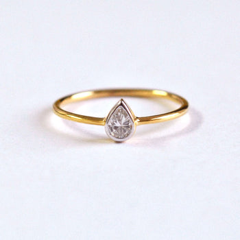 Bezel Set Pear Diamond Engagement Ring in 14k Solid Gold, Small Solitaire Ring