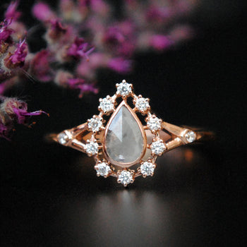 Grey Diamond Halo Rose Gold Ring-Abhika Jewels