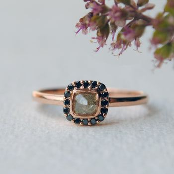 Raw Gray Diamond With Black Diamond Halo Alternative Engagement Ring in 14K Rose Gold (LR1330)