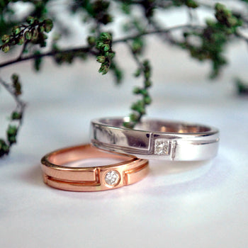14K Gold Couple His & Her Wedding Band Ring Set | Bride Groom Wedding Bands (LR135-136)