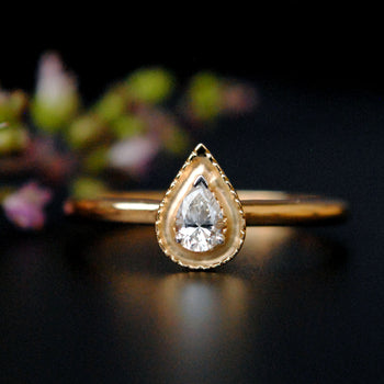 Pear Diamond with Gold Halo Engagement Ring in 14K Solid Gold, Milligrain Gold Halo Ring