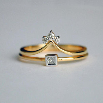 Princess Diamond Engagement Ring Set in 14K Yellow Gold, 3 Diamond Chevron V Stack Wedding Ring