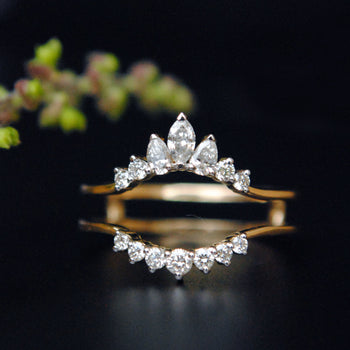 Diamond Ring Guard Enhancer, 14K Gold Marquise Pear Diamond Halo Ring Enhancer (LR1499)