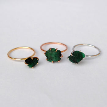 Chunky Raw Emerald 14K Solid Gold Ring (LR1560)