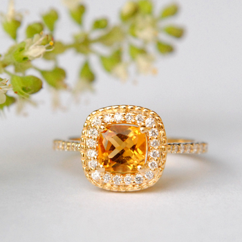 Cushion Citrine with Diamond Halo Engagement Ring in 14k Solid Gold (LR1592)