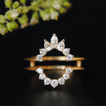 Diamond Ring Guard Enhancer in 14K Gold with Marquise Pear and Round Diamond (LR1601)