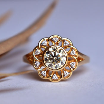 Floral Lace Filigree Solitaire Diamond Engagement Ring in 14K Yellow Gold (LR1764)