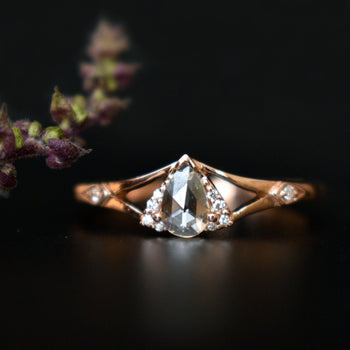 Pear Rose Cut Diamond Ring with Illusion Triangle in 14K Rose Gold Pear Engagement Ring (LR1810)