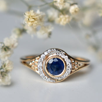 Blue Sapphire & Double Diamond Halo Engagement Ring, 14K Yellow Gold Crescent Halo (LR1884)