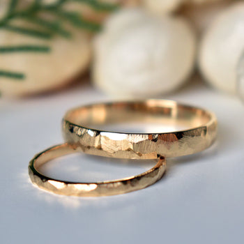 14k Solid Gold Matching Couples Rings in Brushed Finish (LR1887-1888)