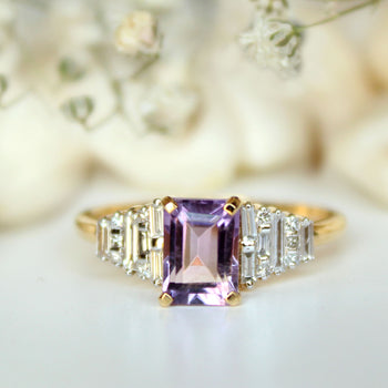 Art Deco Amethyst & Diamond Engagement Ring in 14k Solid Gold with Baguette Cut Natural (LR1942)