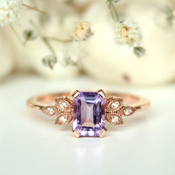 Natural Amethyst and Diamond Engagement Ring, 14K Rose Gold Milgrain Leaves Ring (LR1980)