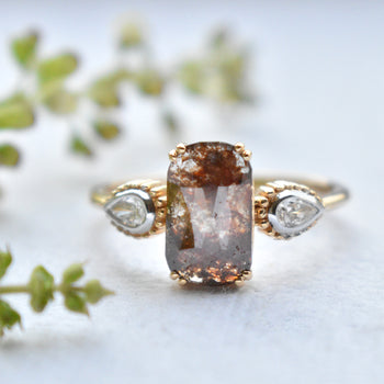 Brown Rosecut 3 Diamond Engagement Ring with Natural White Pear Diamond Accents in Solid 14K Yellow Gold (LR1999)