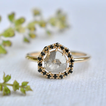 Grey Diamond Engagement Ring with Black Diamond Halo in 14k Solid Yellow Gold (LR2063)