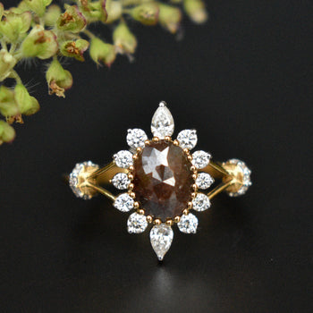 Dark Chocolate Brown Oval Rose Cut Diamond Ring with Pear and Round White Diamond Halo (LR2065)