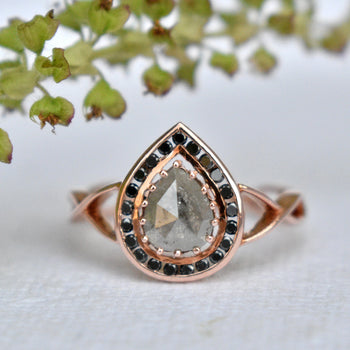 Salt & Pepper Grey Pear Diamond Engagement Ring in 14k Solid Rose Gold, Black Diamond Channel Set Halo (LR2066)