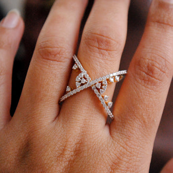 Criss Cross Broad Gap X Diamond Ring (LR206)