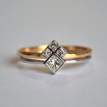 Princess Cut Diamond Wedding Ring Set in 14k White And Yellow Gold, Diamond Chevron V Wedding Band Set