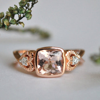 14K Rose Gold Cushion Morganite Ring with Accent Diamond in Heart Shape (LR263)