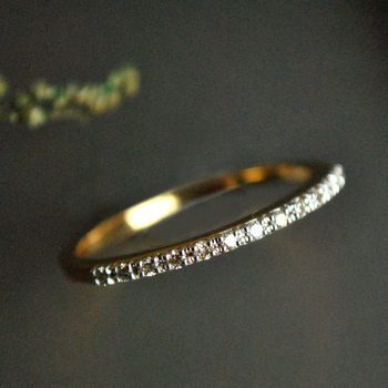 Half Eternity Dainty Diamond Band with Micro Pave Setting in Solid Gold (LR277)