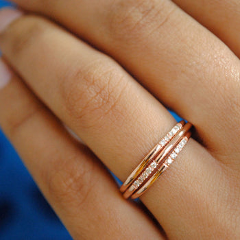 1mm Dainty 14K Solid Gold Band with 5 Pave Set Diamonds, Ultra Thin Skinny Wedding Stack Ring