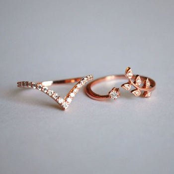 Two piece Leaf and Chevron Ring Set in 14K Solid Gold and Diamonds