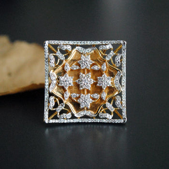 Square Filigree 14K Gold and Diamond Cocktail Ring-Abhika Jewels