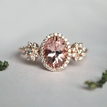 Oval Morganite with Diamond Halo 14K Rose Gold Ring-Abhika Jewels