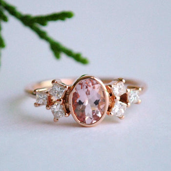 Oval Morganite Ring in 14K Rose Gold with Princess Diamond Cluster, Three stone Engagement Ring (LR473)