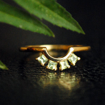 Curved Peridot Stack Band Ring in 14K Yellow Gold. Gemstone, August Birthstone Jewelry (LR496)