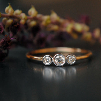 Three Stone Bezel Set Diamond Ring in 14K Gold (LR578)