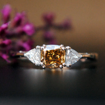 Cognac Color Cushion Cut Engagement Ring in 3 Stone style with trillion cut Diamond (LR600)