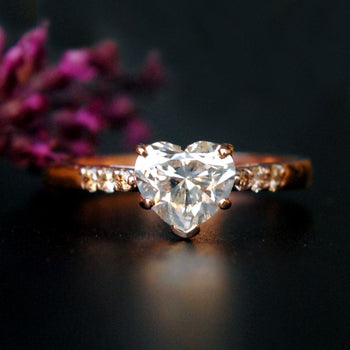 1 Carat Diamond Engagement Ring, Heart Diamond Solitaire Ring in 14K Rose Gold (LR604)