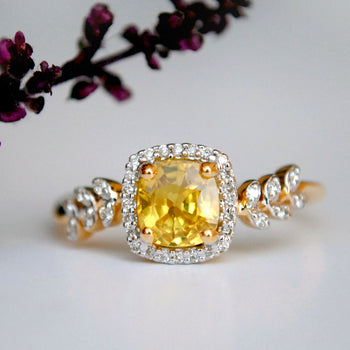 Yellow Sapphire with Diamond Halo Engagement Ring in 14K Gold (LR633)