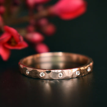 2mm Hammered Gold Ring with flush set Champagne Diamond Wedding Band in 14K Gold (LR712)