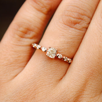 Cushion Cut Art Deco Engagement Ring. 14K Gold Cushion & Round Diamond Ring. (LR736)