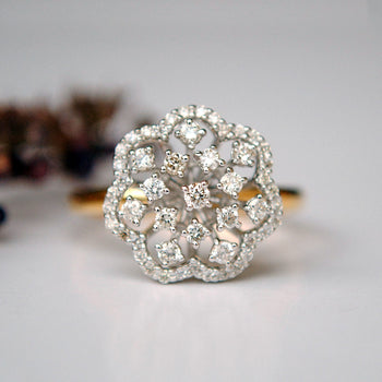Floral Cluster Diamond Cocktail Ring (LR741)
