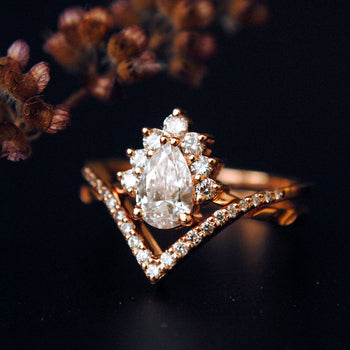 1/2 Carat Pear Diamond Wedding Ring Set, 14K Rose Gold Crossover Bridal Ring Set