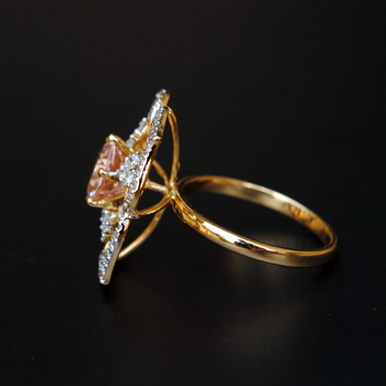 Pink Morganite with Flower Diamond Halo 14K Yellow Gold Ring-Abhika Jewels