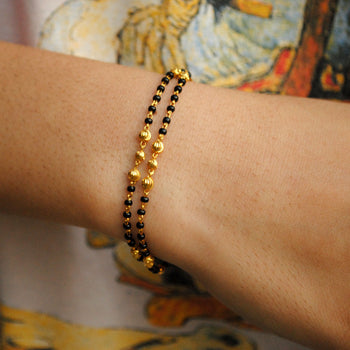 18K Solid Yellow Gold Double Strand Mangalsutra Bracelet with Gold Chain and Black Beads