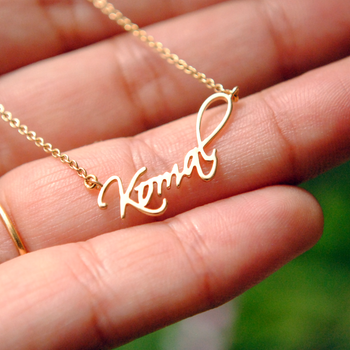 14K Solid Gold Personalized Name/Signature Necklace (NK011)
