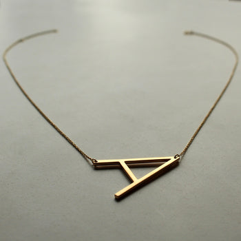 14K Solid Gold Alexis Rose Initial Necklace, Customized Big Initial on Dainty Cable Chain Necklace (NK019)