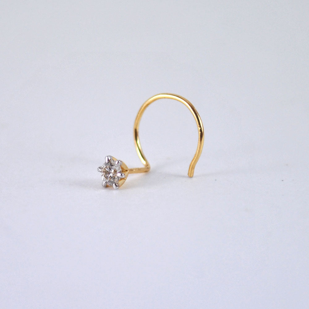 C L Wire Diamond Nose Stud In 14k Solid Gold In 21 Gauge Nostril