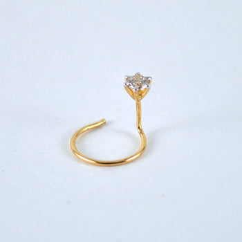 C / L Wire Diamond Nose Stud in 14k Solid Gold in 21 Gauge  Nostril, Ear, Cartilage, Helix, Tragus Piercing Stud (NP001)